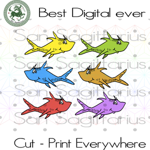 One fish, Yellow fish,Dr Seuss SVG Files For Cricut Silhouette Instant Download | San Sagittarius