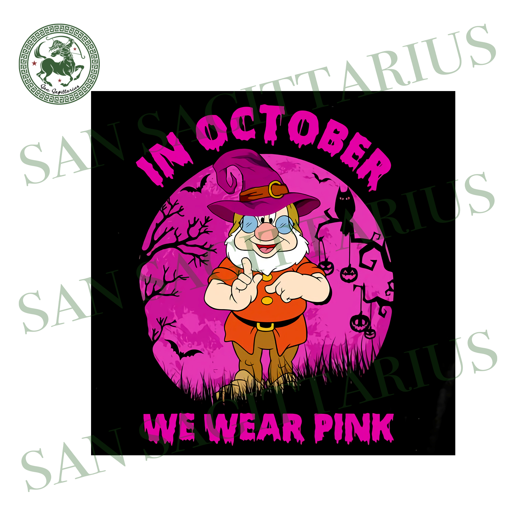 Doc Dwarf In October We Wear Pink, Halloween Svg, Happy Halloween, Halloween Gift, Halloween Shirt, Halloween Icon, Halloween Vector, Nightmare Svg, Doc Dwarf Svg, Cute Doc Dwarf