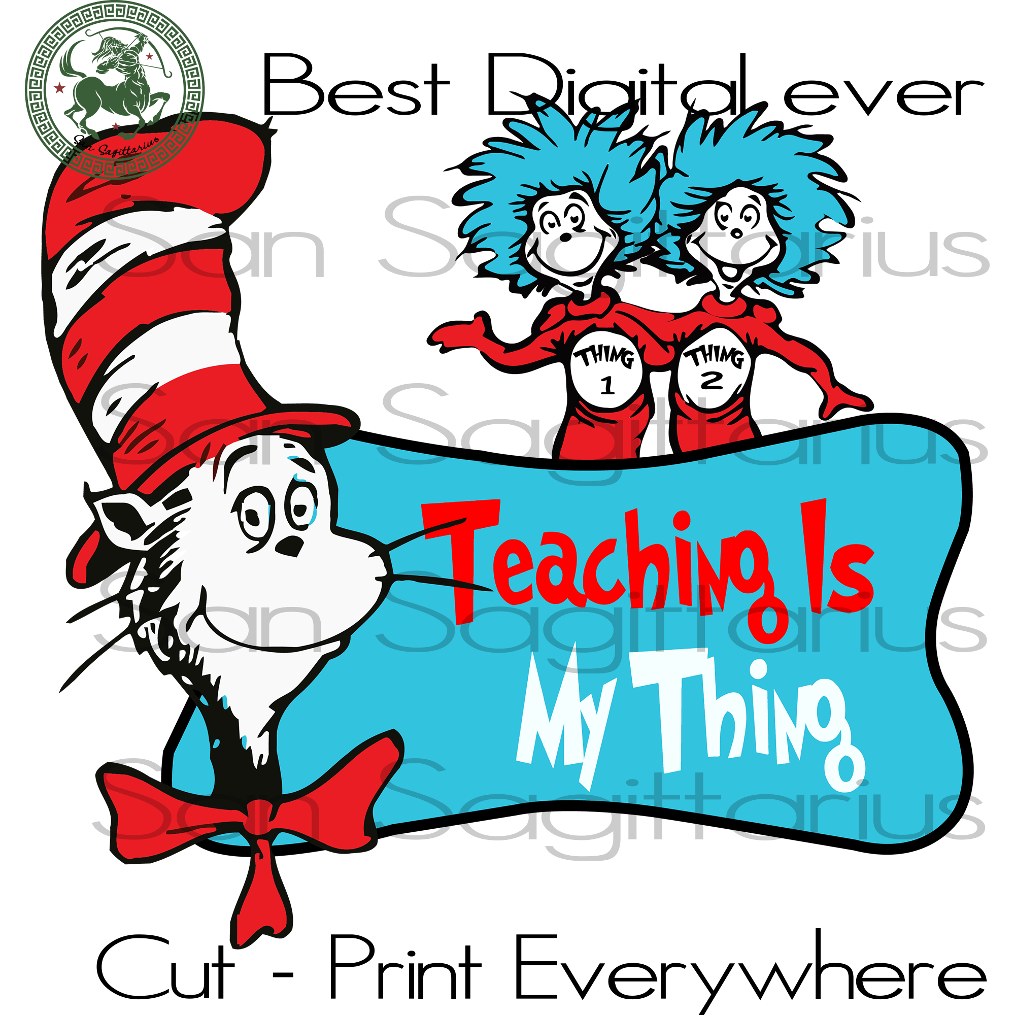 Thing 1 Thing 2 Svg, Dr Seuss Cut Files, Dr Seuss Party SVG Files For Cricut Silhouette Instant Download | San Sagittarius