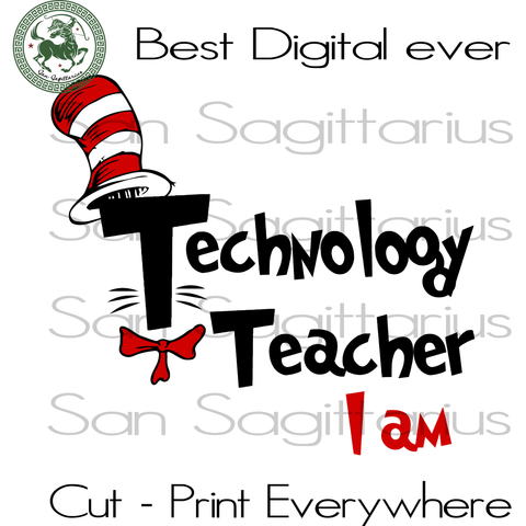 Technology Teacher Dr Seuss SVG, Technology Teacher Dr Seuss Cut File, Technology Teacher Lover Svg, Dr Seuss School Gift SVG Files For Silhouette Cricut Files Instant Download | San Sagittarius