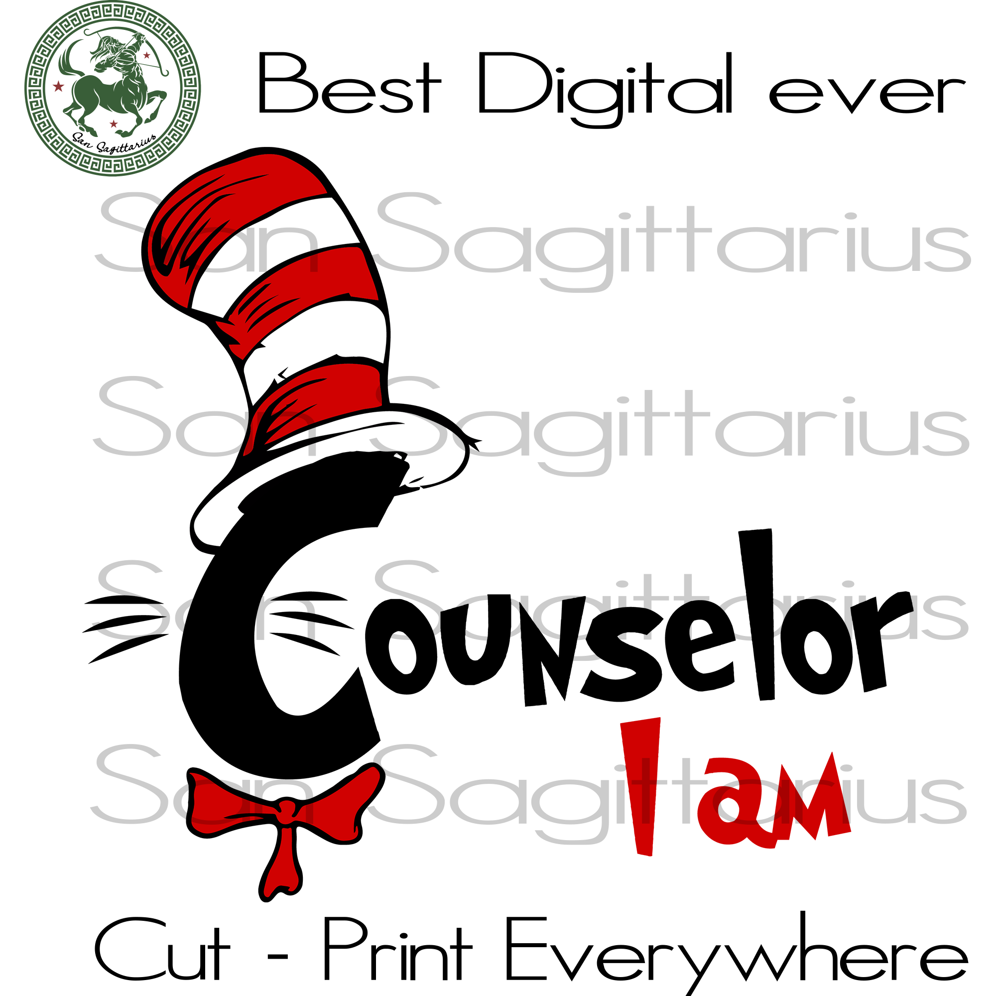 Counselor I am, Dr Seuss SVG, Dr Seuss Cut File, Dr Seuss Counselor, School Gift Svg, Thing 1 Thing 2 SVG Files For Silhouette, Cricut Files, SVG DXF EPS PNG Instant Download