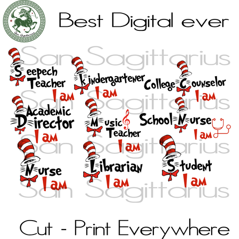 Dr Seuss Svg, Teacher Gift Svg, Teacher Life Svg, School SVG Files For Cricut Silhouette Instant Download | San Sagittarius