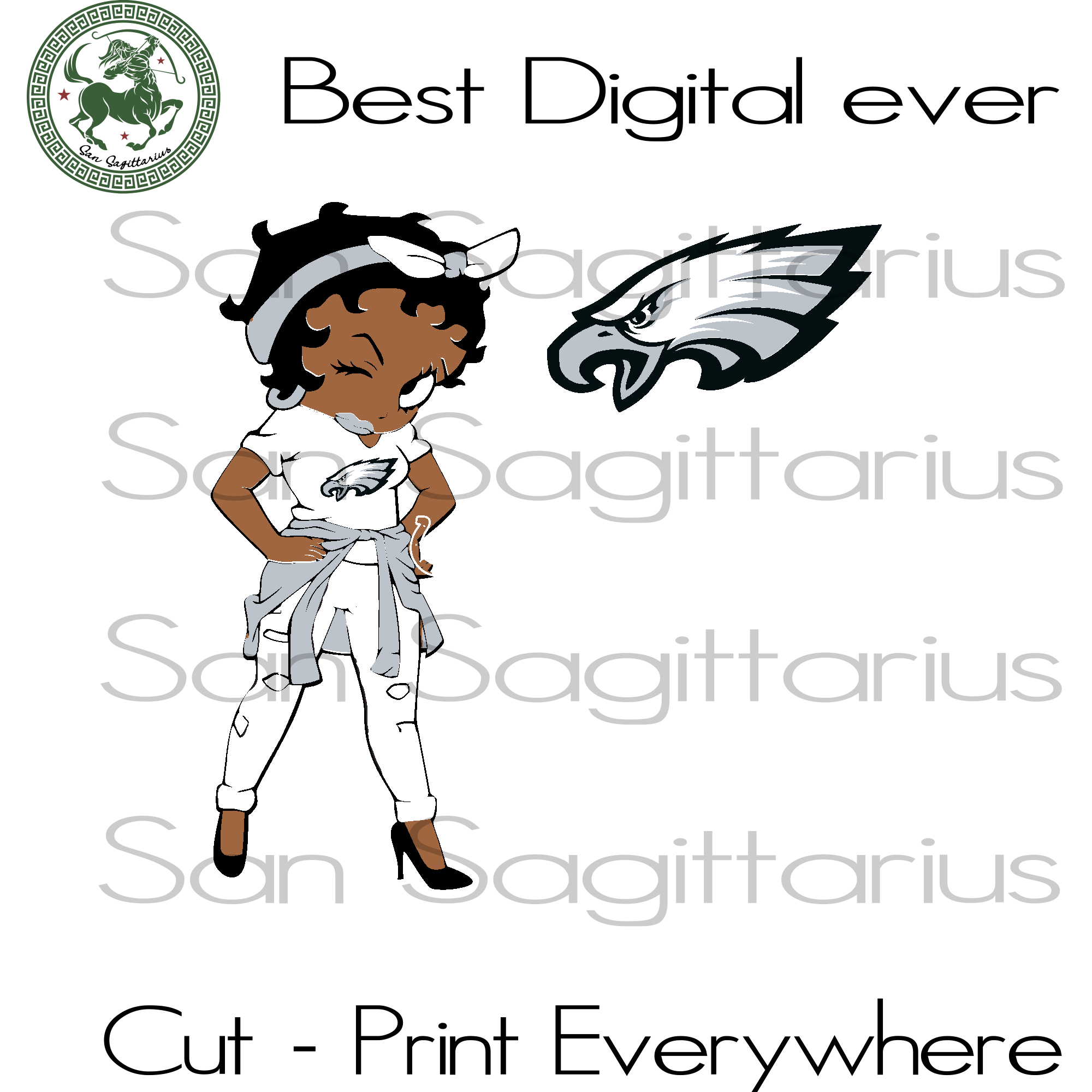 Philadelphia Eagles Betty Boobs Girl SVG Files For Cricut Silhouette Instant Download | San Sagittarius
