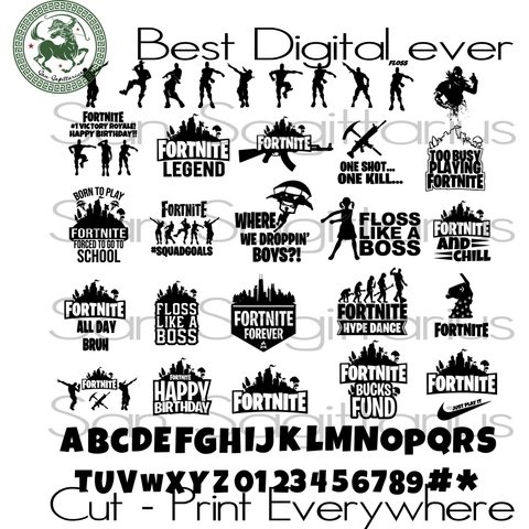 Fortnite Game Logo svg, Fortnite vector, Fortnite Games, Party Decor, Party Girl, Party Invitation SVG Files For Cricut Silhouette Instant Download | San Sagittarius