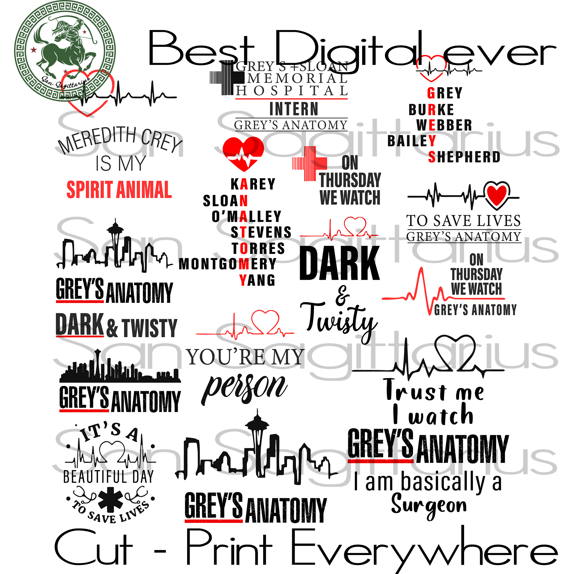 Greys Anatomy Bundle, Greys Anatomy, TV Show, Funny Saying, Funny Quotes SVG Files For Cricut Silhouette Instant Download | San Sagittarius