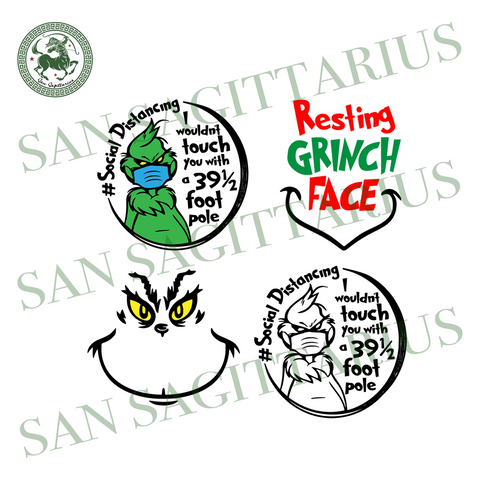 Grinch Bundle Svg, Trending Svg, Grinch Svg, Grinch Face Svg, Resting Grinch Face, Social Distancing, Grinch Wearing Face Mask, Quarantine Svg, 39.5 Foot Pole, Safe Distance, I Wouldnt Touch