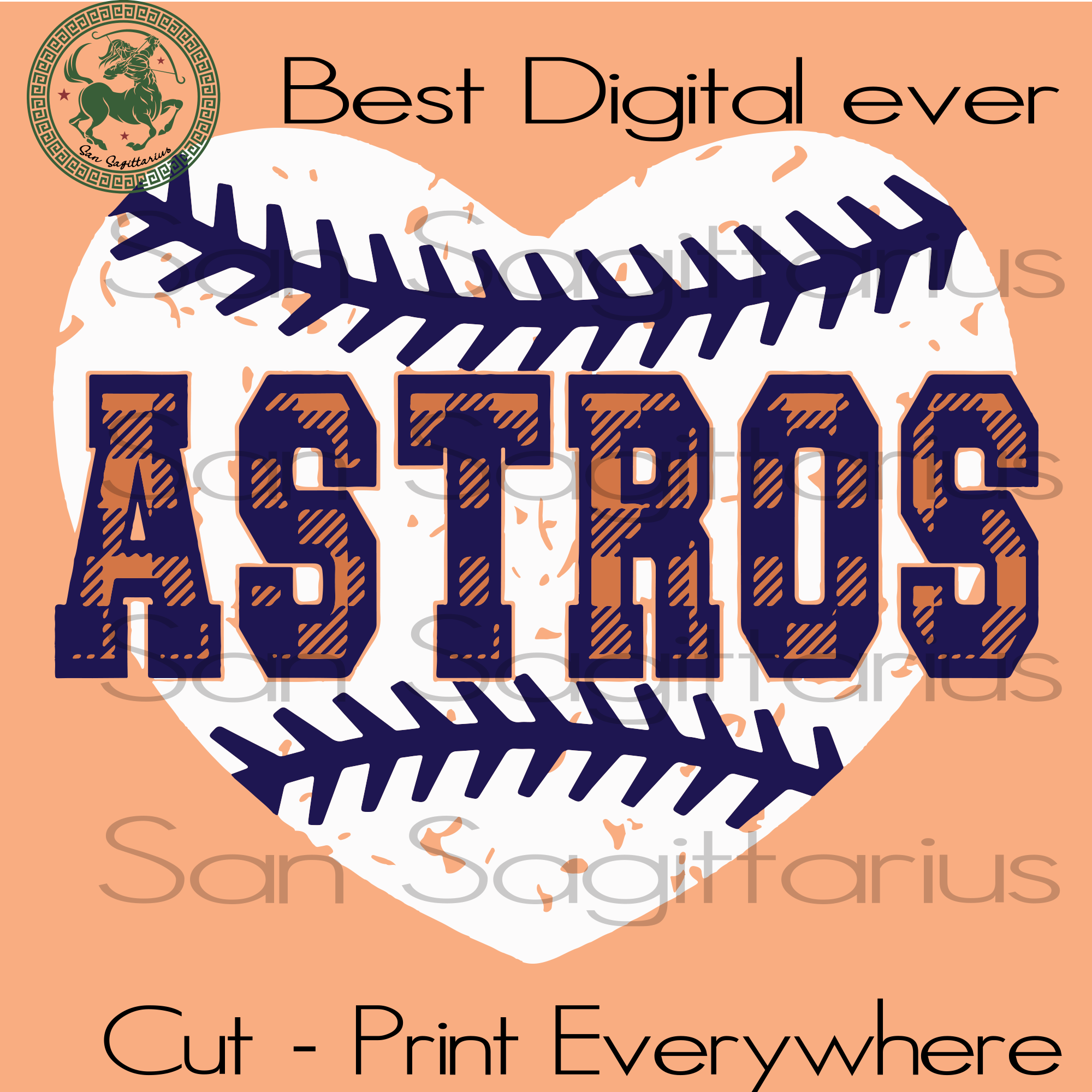 Love Houston Astros MLB Baseball SVG Files For Silhouette Cricut Instant Download | San Sagittarius