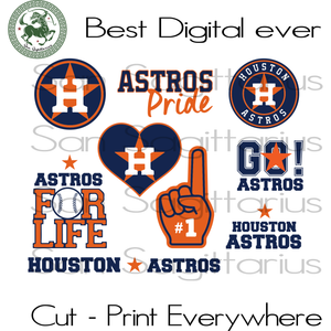Houston Astros MLB Baseball Logo Bundle SVG Files For Silhouette Cricut Instant Download