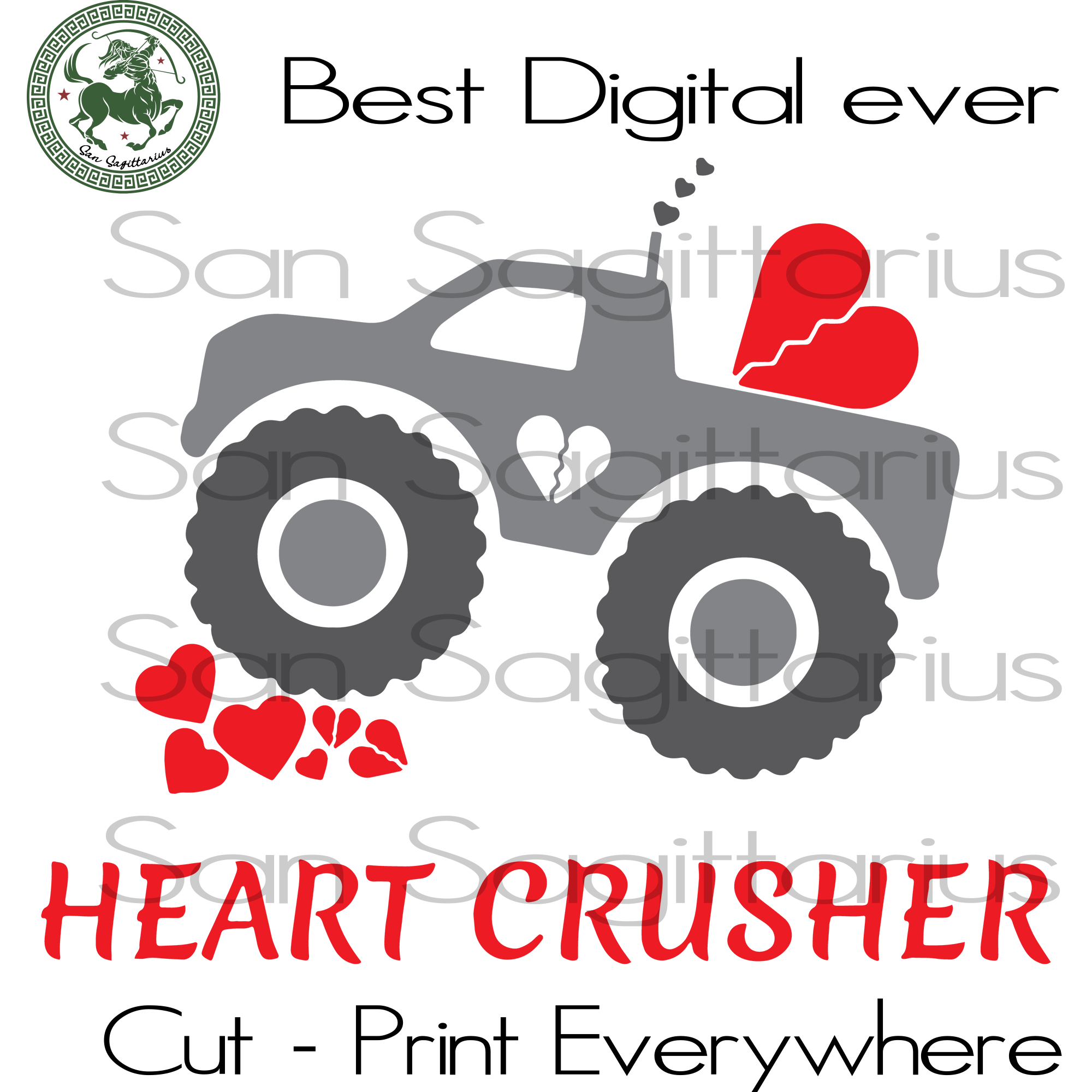 Heart Crusher Svg, Truck Vector Clipart, Truck Clipart, Truck vintage, Truck lover, Truck driver, Kids shirt, Valentines Cut Files, Truck SVG Files For Cricut Silhouette Instant Download | Sa