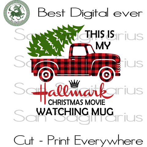 This is my hallmark Christmas movies watching mug, Christmas truck buffalo pattern, Christmas car retro vintage, Watching movies lover, Christmas tree vector, fur tree vector, Christmas car w