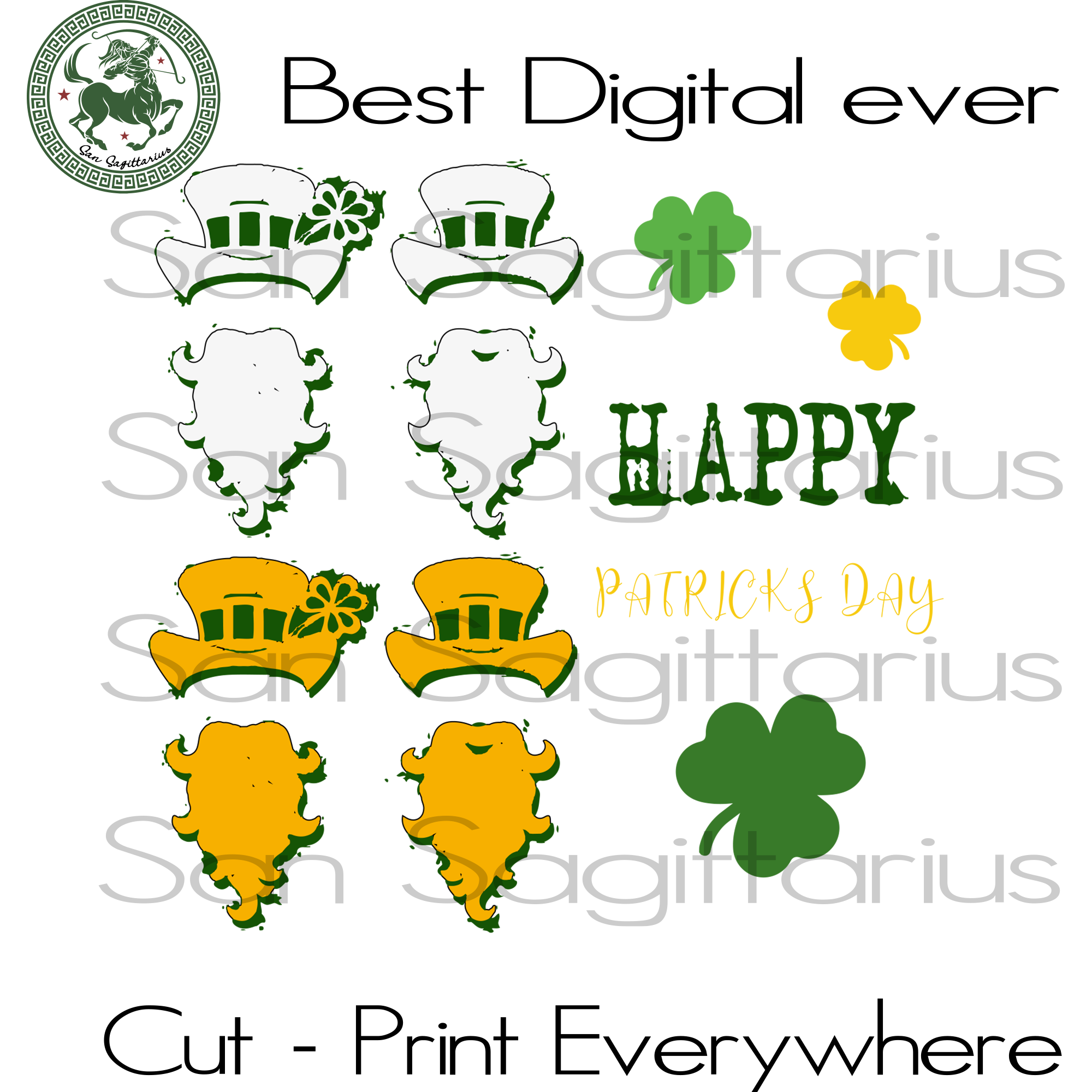 Happy Patrick's Day, Patricks Party Svg, Three Leaves Clover, Gift For Man, Drinking Team, Beer Lover SVG Files For Cricut Silhouette Instant Download | San Sagittarius