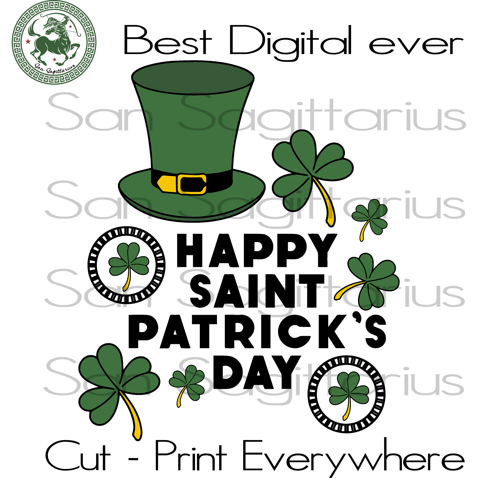 Happy Patrick's Day, Three Leaves Clover, Shenanigans Svg, Drinking Team, Beer Wine SVG Files For Cricut Silhouette Instant Download | San Sagittarius