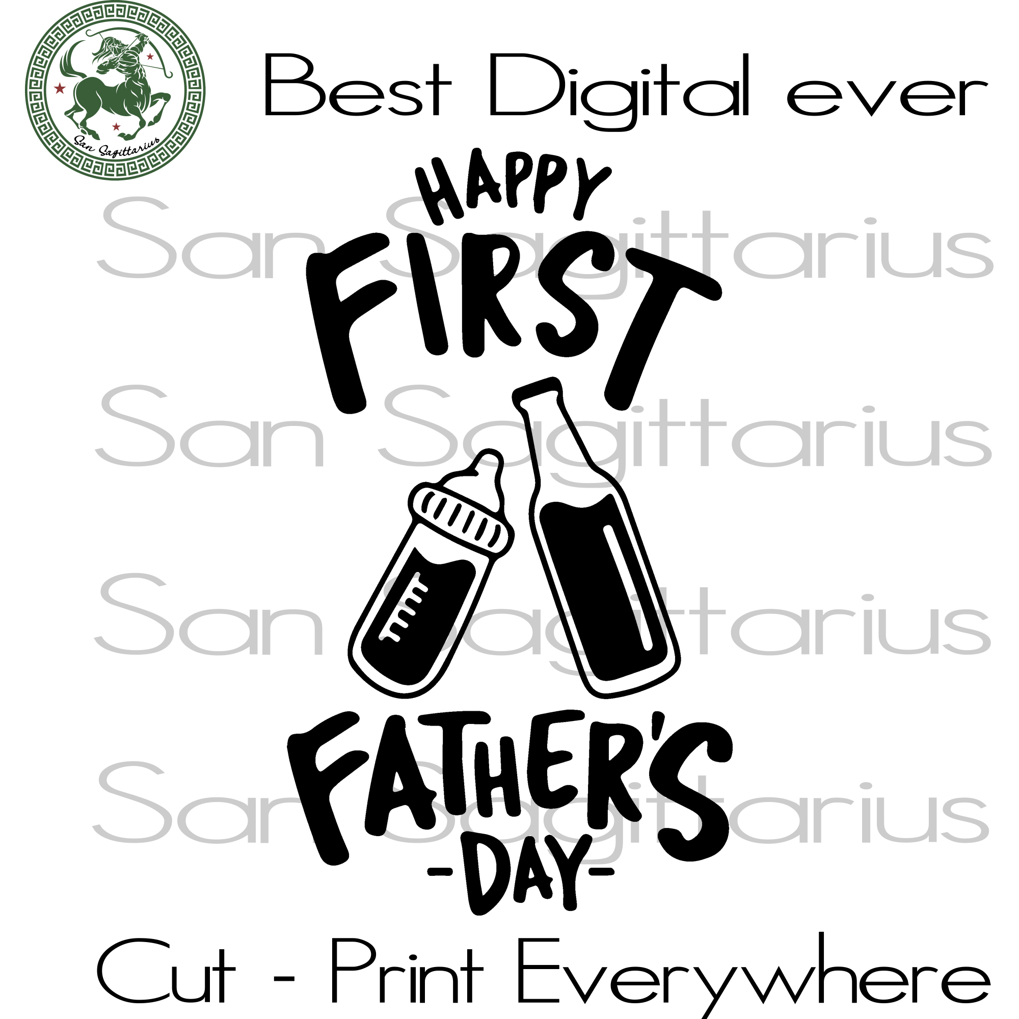 Happy First Father's Day, Dad Svg, Dad Gift Svg, Gift For Dad, Dad Birthday Svg, Shirt For Dad, Fathers Day, Baby, Newborn SVG Files For Cricut Silhouette Instant Download | San Sagittarius