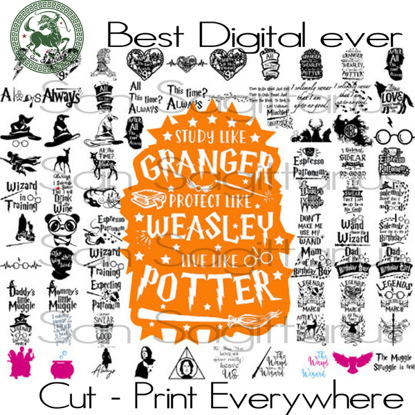 Harry Potter Svg Vector Clipart Bundle SVG Files For Cricut Silhouette Instant Download | San Sagittarius