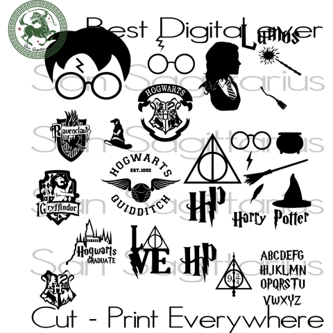 Harry Potter Svg Bundle, Harry Potter, Harry Potter Svg, Harry Potter Gift, Harry Potter Party, Harry Potter Clipart, Harry Potter Theme, Potter Invitation SVG Files For Cricut Silhouette Instant Download | San Sagittarius