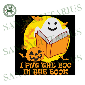 I Put The Boo In The Book, Halloween Svg, Halloween Design, Halloween Gift, Halloween Shirt, Happy Halloween, Boo Svg, Cute Boo, Funny Boo, Baby Boo, Book Svg, Pumpkin Svg