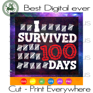 I Survived 100 Days Of School, Teachers Gifts Svg, Kids Kindergarten SVG Files For Cricut Silhouette Instant Download | San Sagittarius