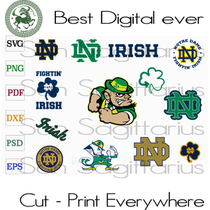 Fighting Irish Notre Dame ND Football Logo SVG Files For Cricut Silhouette Instant Download | San Sagittarius