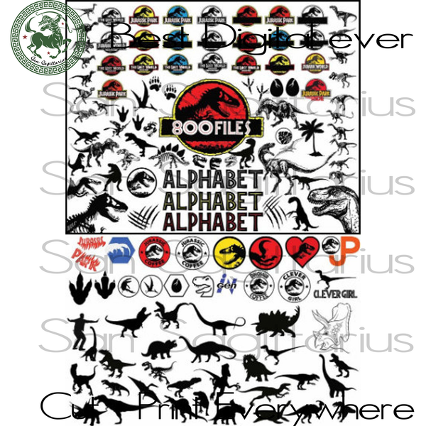 Jurassic Park Movie Clipart Bundle Birthday Best Gifts For Kids SVG Files For Cricut Silhouette Instant Download | San Sagittarius
