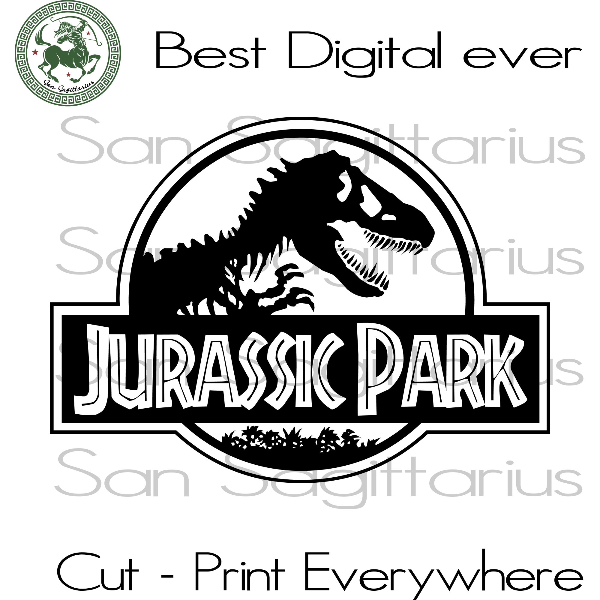 Jurassic Park Silhouette Best Gift For Kids SVG Files For Cricut Silhouette Instant Download | San Sagittarius
