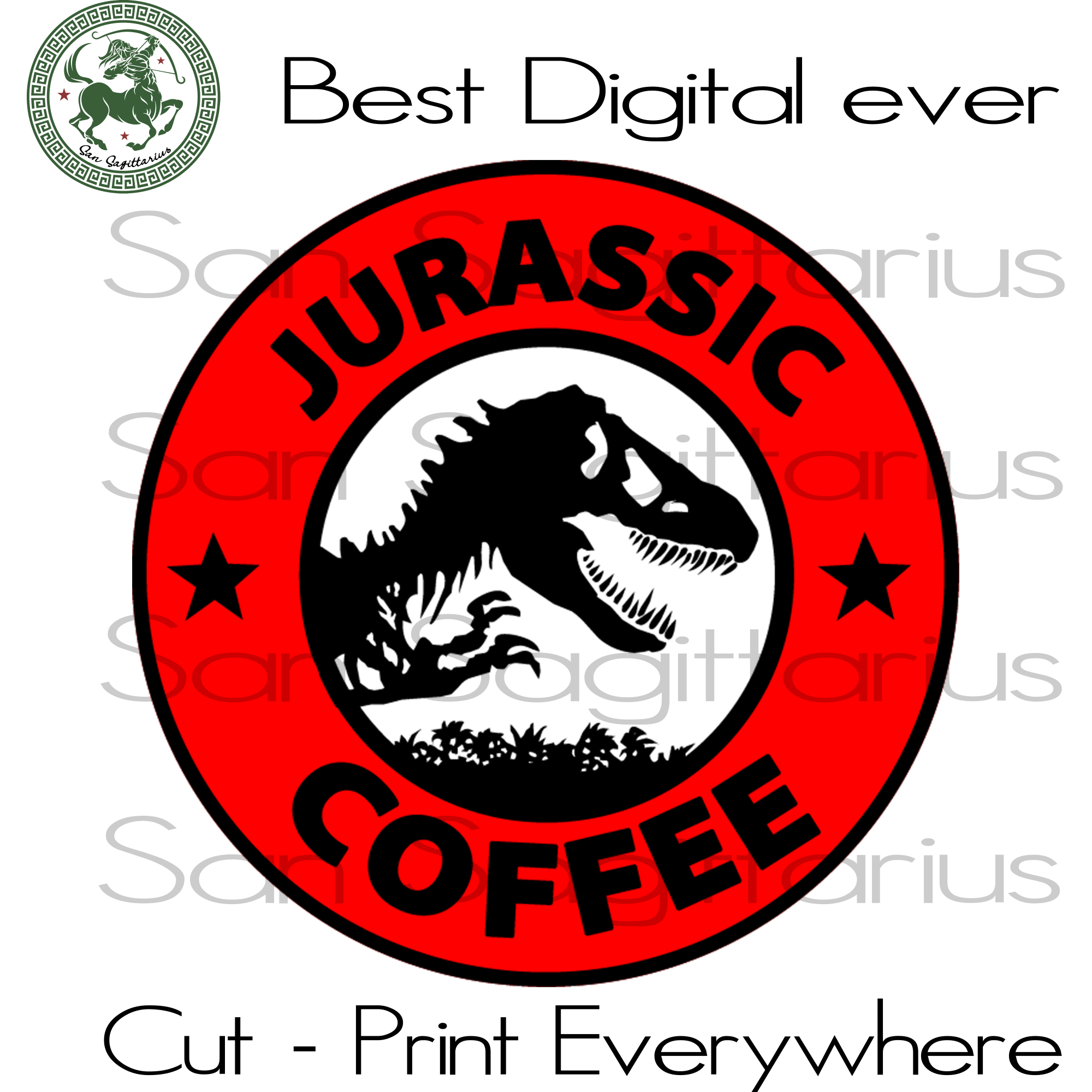 Jurassic Park Coffee Best Gifts For Coffee Lovers SVG Files For Cricut Silhouette Instant Download | San Sagittarius