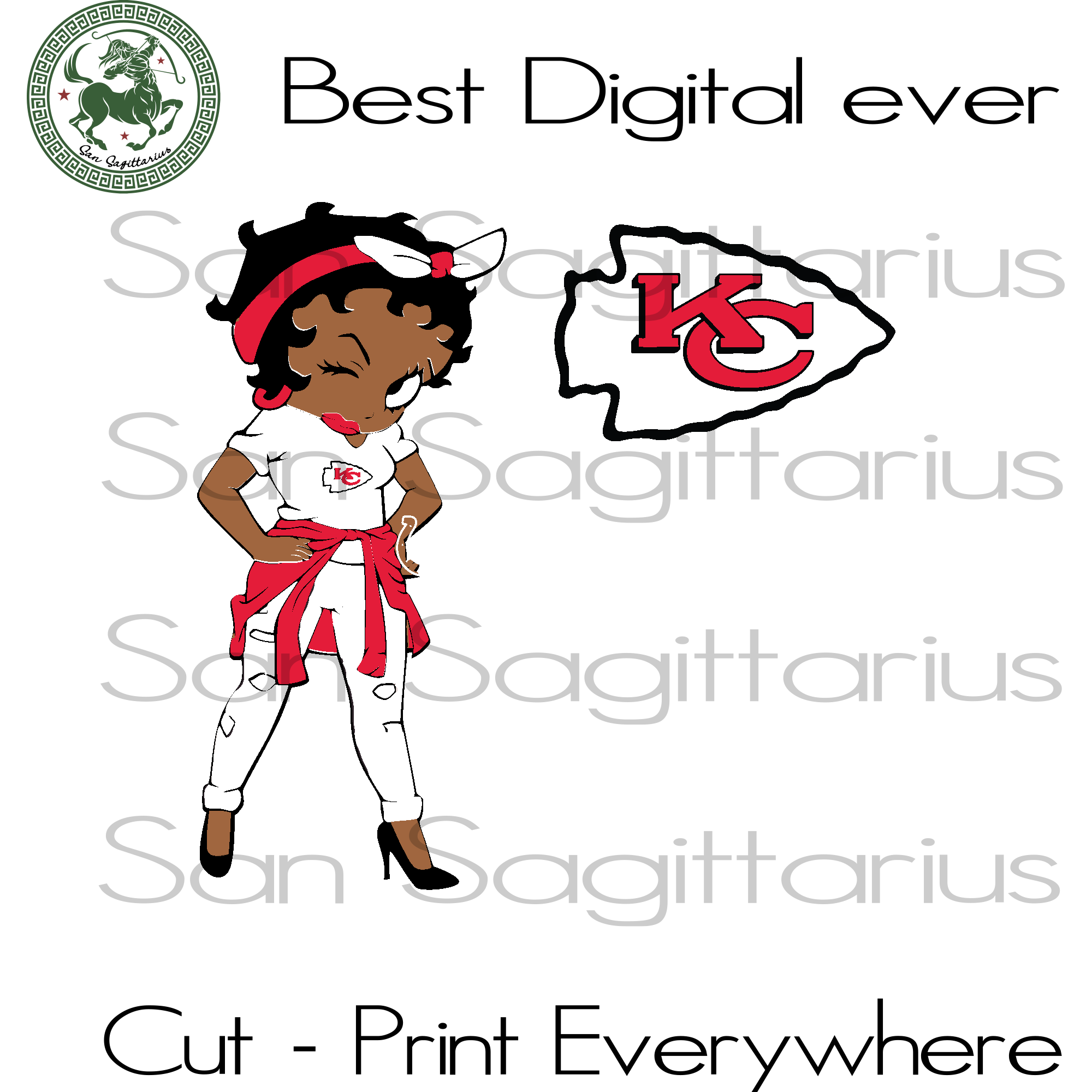 Kansas City Chiefs NFL Betty Boobs Girl SVG Files For Cricut Silhouette Instant Download | San Sagittarius