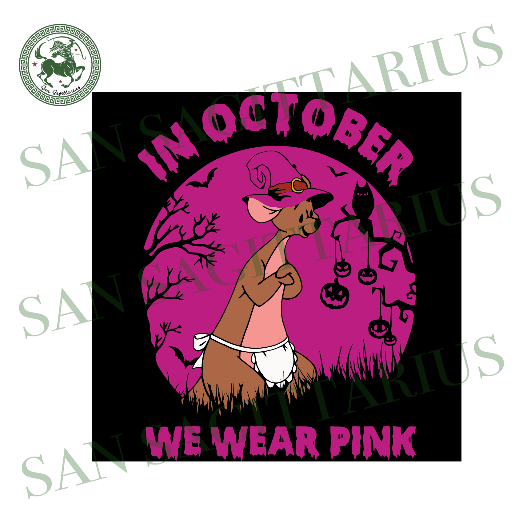 Kangaroo Mom In October We Wear Pink, Halloween Svg, Happy Halloween, Halloween Gift, Halloween Shirt, Halloween Icon, Halloween Vector, Nightmare Svg, Kangaroo Svg, Kangaroo Mom, Disney Svg