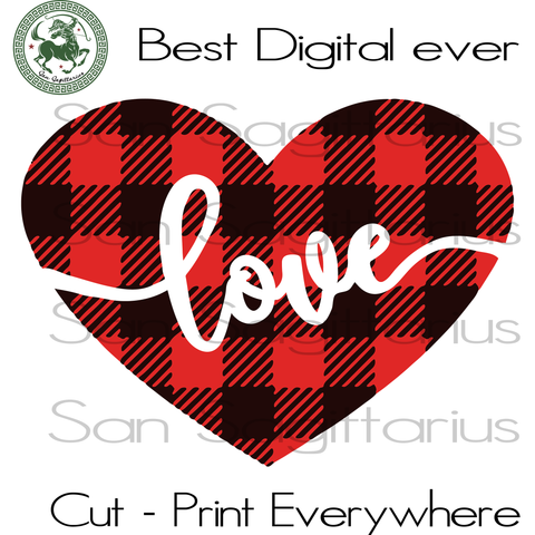Valentine Heart Buffalo Plaid Bestie Gifts PNG Instant Download | San Sagittarius