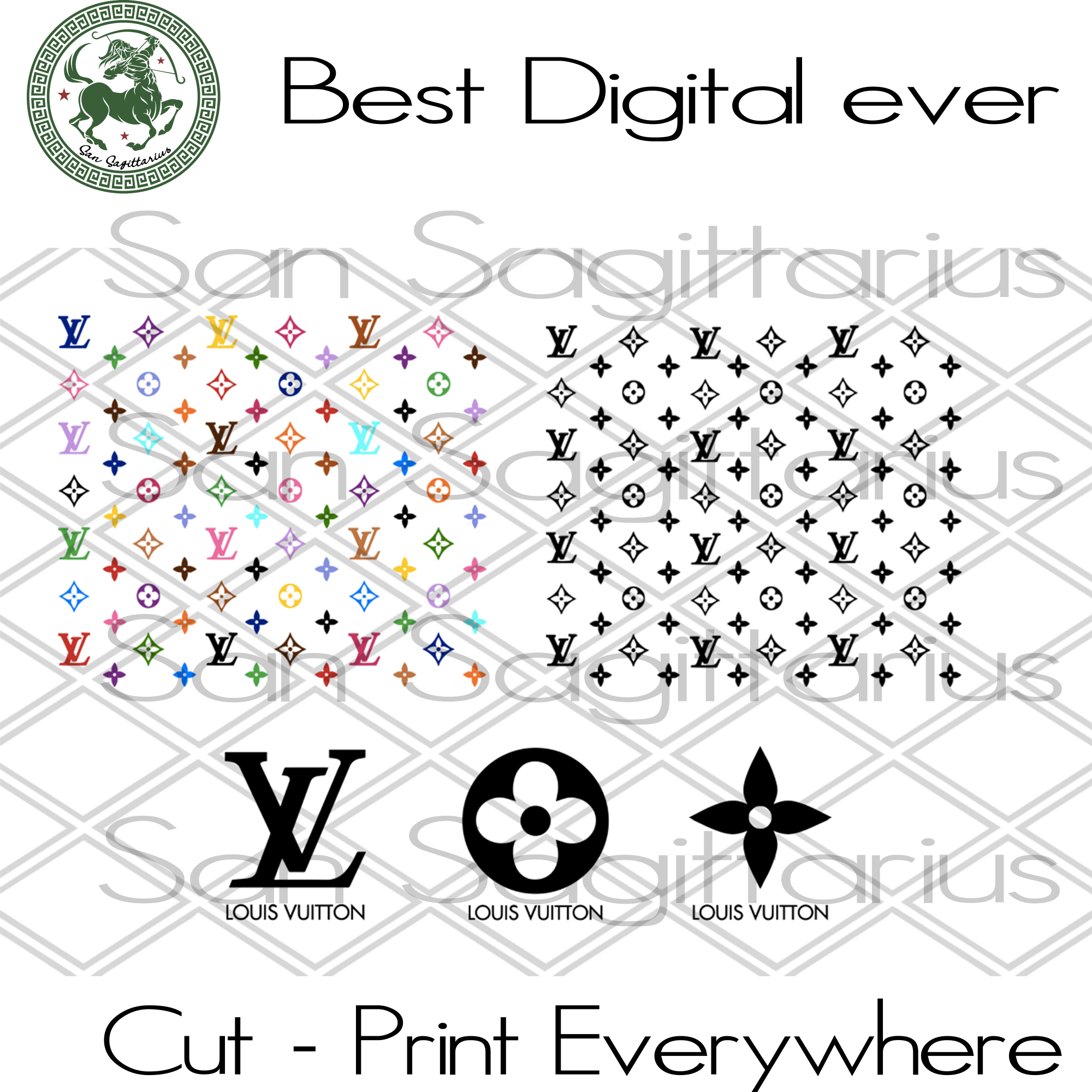 Louis Vuitton Pattern Svg Louis Vuitton Louis Vuitton Gift Lv Bundl San Sagittarius