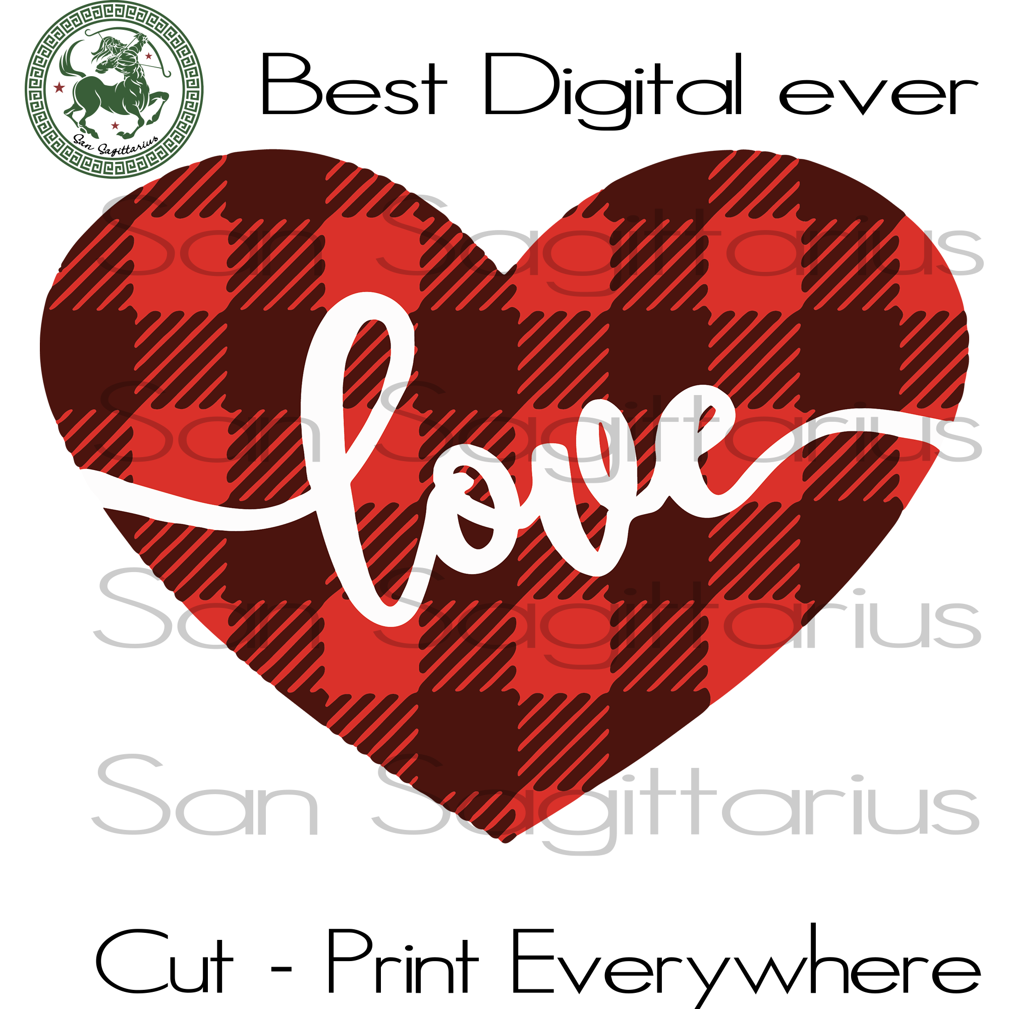 Valentines Day gift Svg, Valentines Day Heart Plaid Clipart SVG Files For Cricut Silhouette Instant Download | San Sagittarius