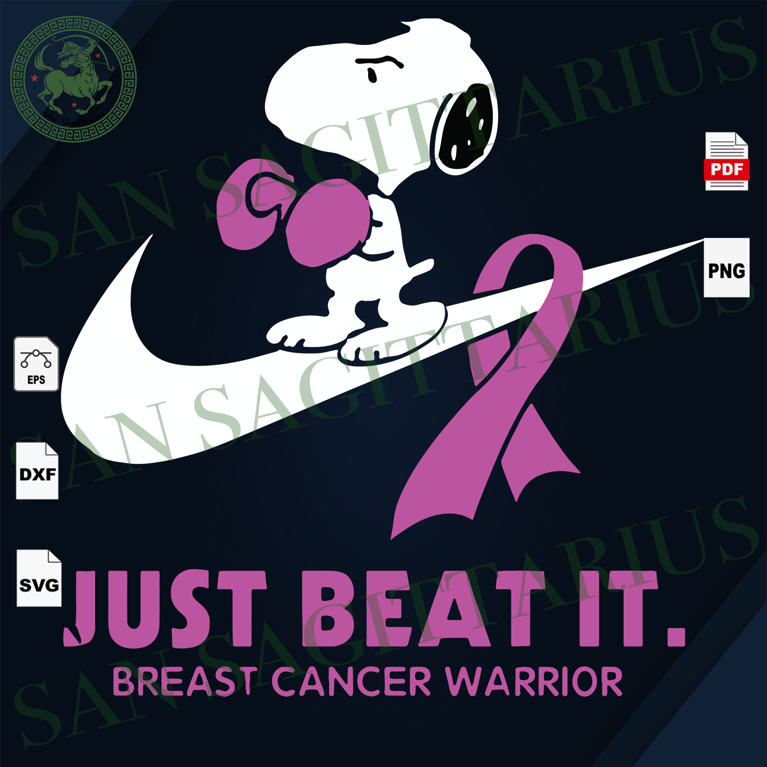 Just Beat It, Breast Cancer Warrior, Snoopy, Snoopy Svg, Nike, Snoopy Nike Svg, Breast Cancer Svg, Cancer Awareness, Cancer Ribbon Svg, Breast Cancer Ribbon, Breast Cancer Anniversary, Breast