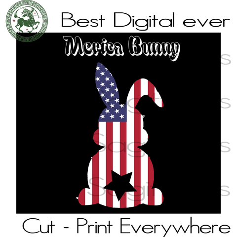 Bunny USA Flag, USA Flag Vector, America Flag Clipart, Rabbit SVG Files For Cricut Silhouette Instant Download | San Sagittarius