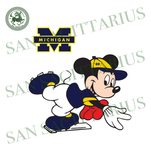 Michigan Wolverines Football And Mickey, Sport Svg, Michigan Wolverines Football Svg, NCAA Sport Svg, NCAA Svg, Mickey Svg, Football Svg, Michigan Wolverines Football Logo, Mickey Love, Micke