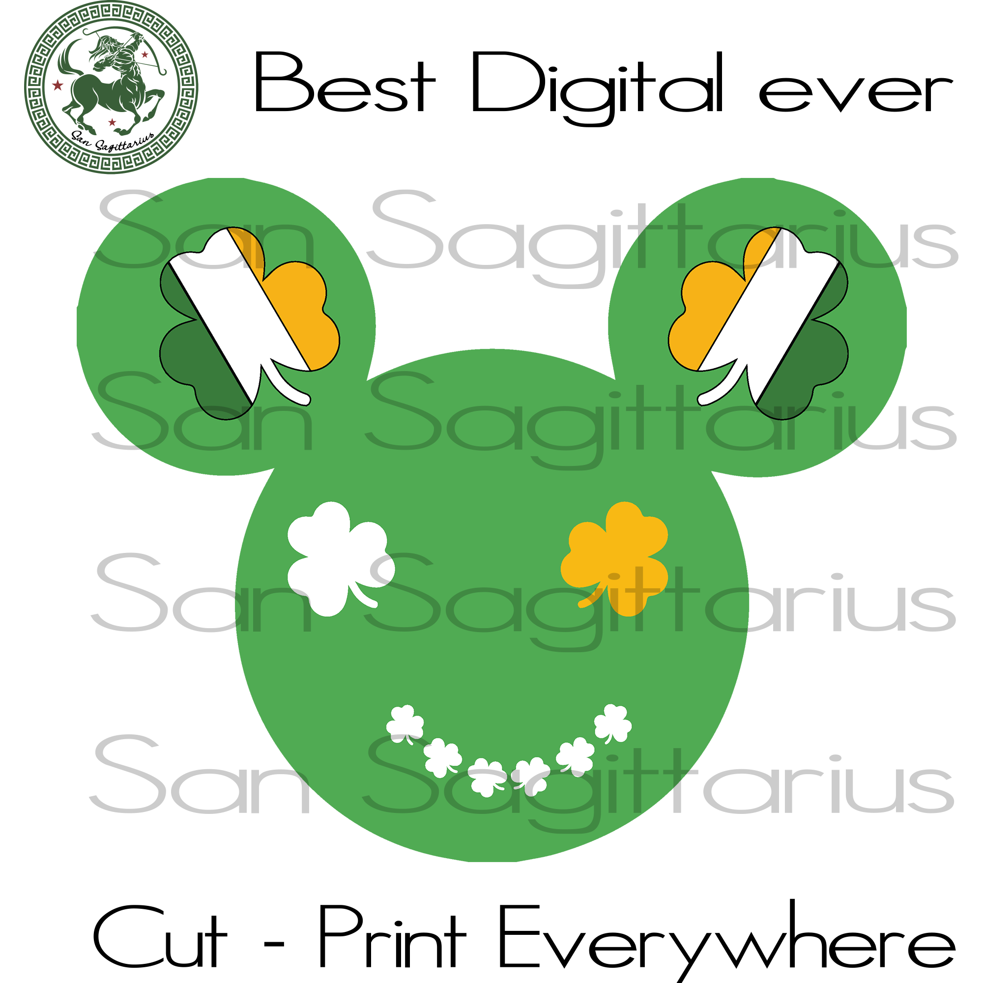 Mickey Svg, Happy Patrick's Day, Disney Mickey Svg, Three Leaves Clover,Disney World Mickey Mouse Bundle Castle SVG Files For Cricut Silhouette Instant Download | San Sagittarius