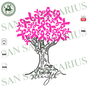 Breast Cancer Tree Svg, Breast Cancer Awareness, Breast Cancer Gift, Breast Cancer Svg, Cancer Ribbon Svg, Breast Cancer Ribbon, Breast Cancer Anniversary, Breast Cancer Ribbon Print, Gift Fo