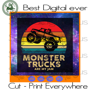 Monster Truck Are My Jam, Retro Sunset, Vintage Truck SVG Files For Cricut Silhouette Instant Download | San Sagittarius