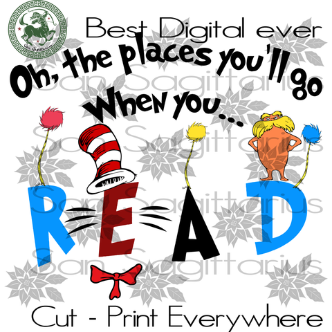 Reading Books Svg, Book Lovers, Dr Seuss Birthday Party Svg, Dr Seuss SVG Files For Silhouette Cricut Files Instant Download | San Sagittarius