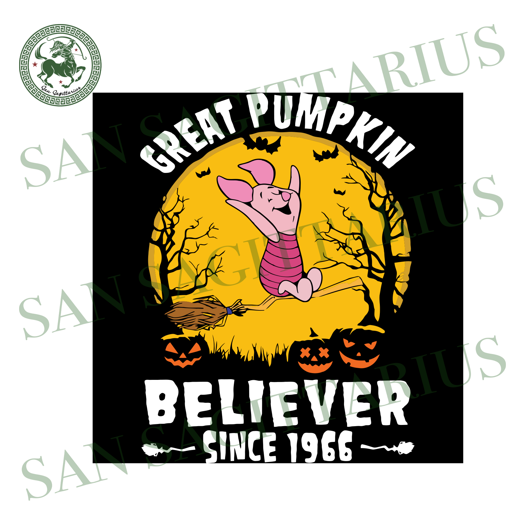 Pig Great Pumpkin Believer Since 1966, Halloween Svg, Happy Halloween, Halloween Gift, Halloween Day, Trick Or Treat Halloween, Pig Svg, Cute Pig, Pumpkin Svg, Love Pig, Poor Bear Cartoon Svg