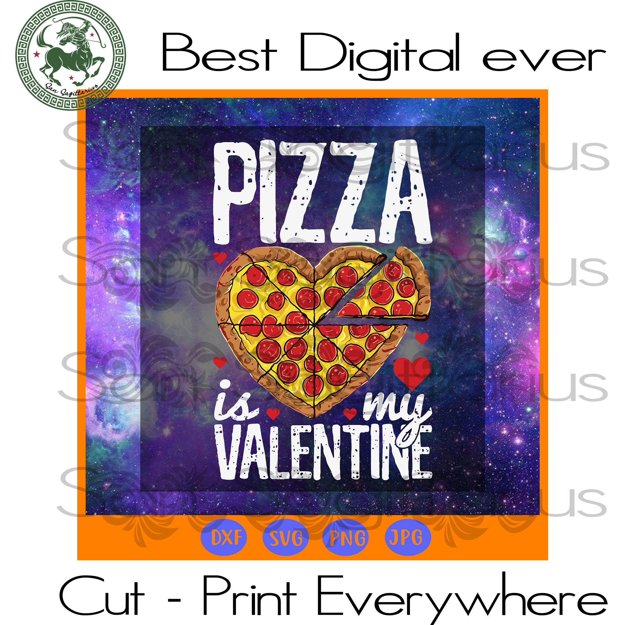 Valentine Pizza Svg, Pizza Valentine Svg, Valentine Gift, Valentine's Day Gift Svg, Lover Gift SVG Files For Cricut Silhouette Instant Download | San Sagittarius