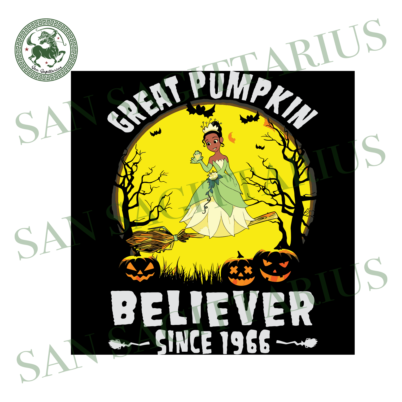 Princess And The Frog Great Pumpkin Believer Since 1966, Halloween Svg, Happy Halloween, Halloween Gift, Halloween Shirt, Halloween Icon, Halloween Vector, Nightmare Svg, Tiana Princess