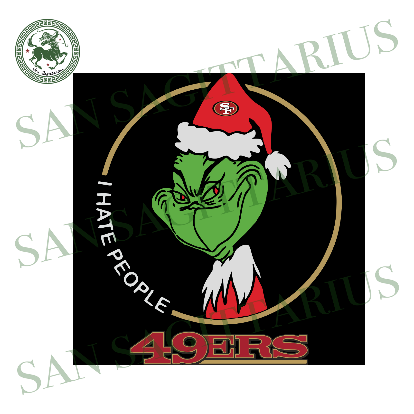 San Francisco 49ers Logo With Grinch, Sport Svg, NFL Football Svg, NFL Svg, NFL Sport, San Francisco 49ers Svg, San Francisco 49ers, San Francisco 49ers NFL Lover, SF 49ers Svg, Football Svg