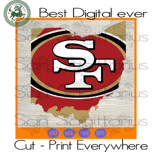San Francisco 49ers NFL Logo map SVG Files For Cricut Silhouette Instant Download | San Sagittarius