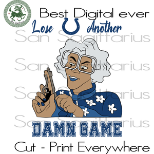 Madea Colts another dame game SVG Files For Silhouette, Cricut Files, SVG DXF EPS PNG Instant Download