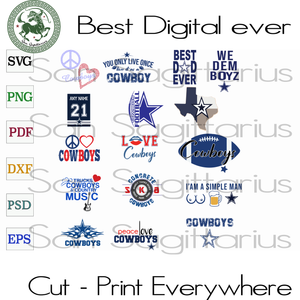 Dallas Cowboys Football NFL Logo Bundle Best Gift For Football Mom SVG Files For Cricut Silhouette Instant Download | San Sagittarius