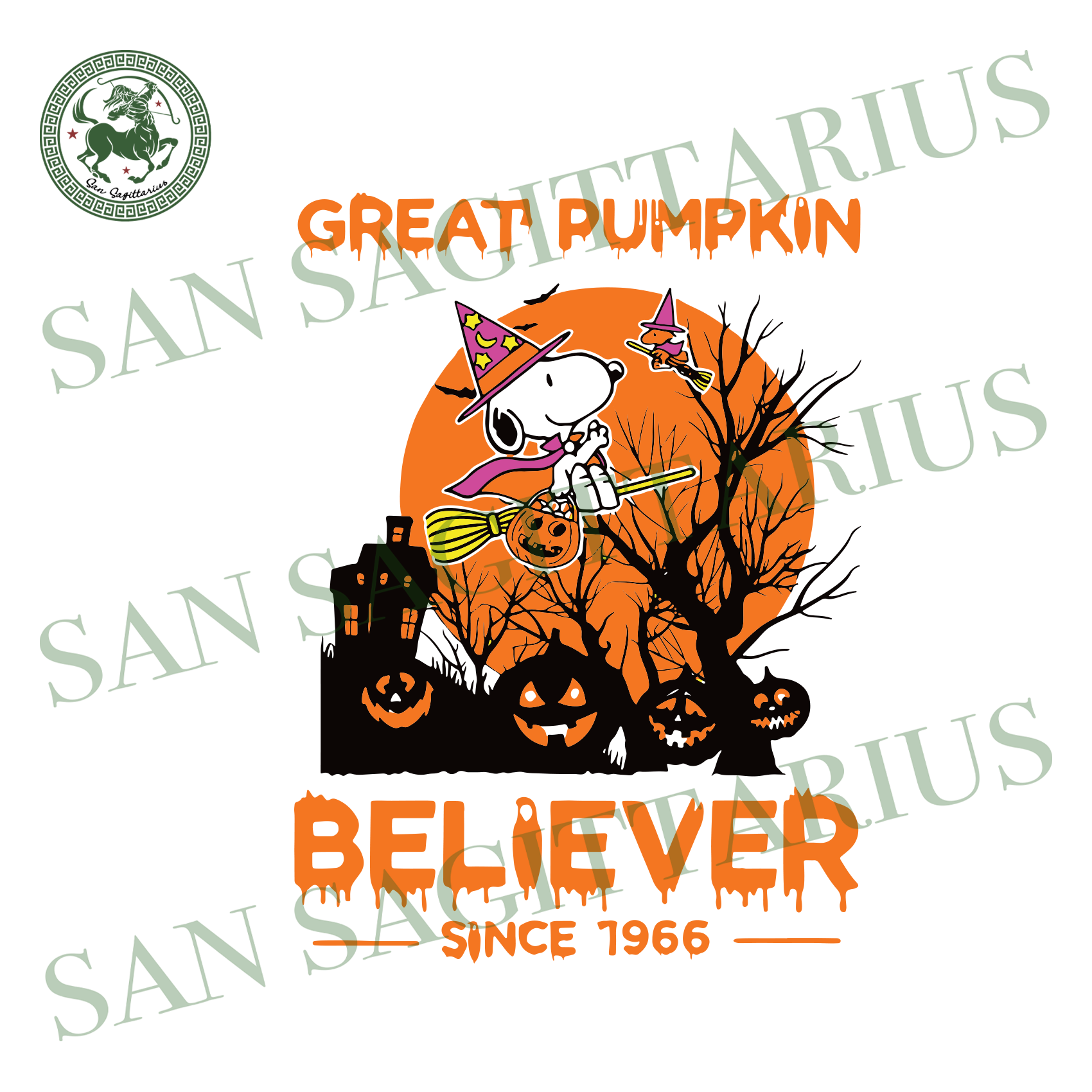 Snoopy Great Pumpkin Believer Since 1966, Halloween Svg, Snoopy Svg, Cute Snoopy, Snoopy Gift, Snoopy Lovers, Snoopy Witch Hat Svg, Scary Halloween, Halloween Party, Funny Halloween, Gift For