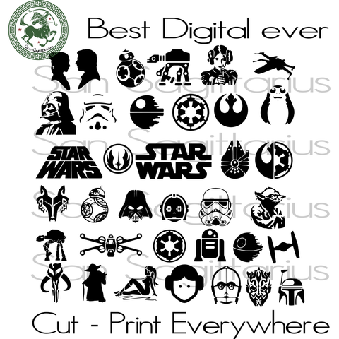 Star Wars Bundle svg, Movie Lover, Star Wars Svg, Star Wars, Star Wars Silhouette, Yoda, Darth Vader, Star Wars Fans Gift SVG Files For Cricut Silhouette Instant Download | San Sagittarius