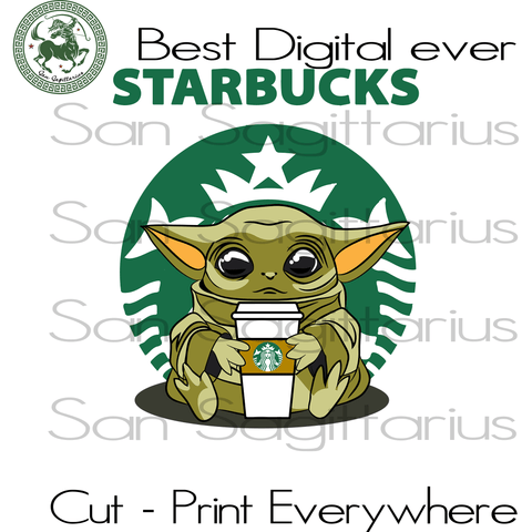 Baby Yoda Starbucks Star Wars, Baby Yoda, Starbucks Coffee Lover, Baby Yoda SVG Files For Cricut Silhouette Instant Download | San Sagittarius