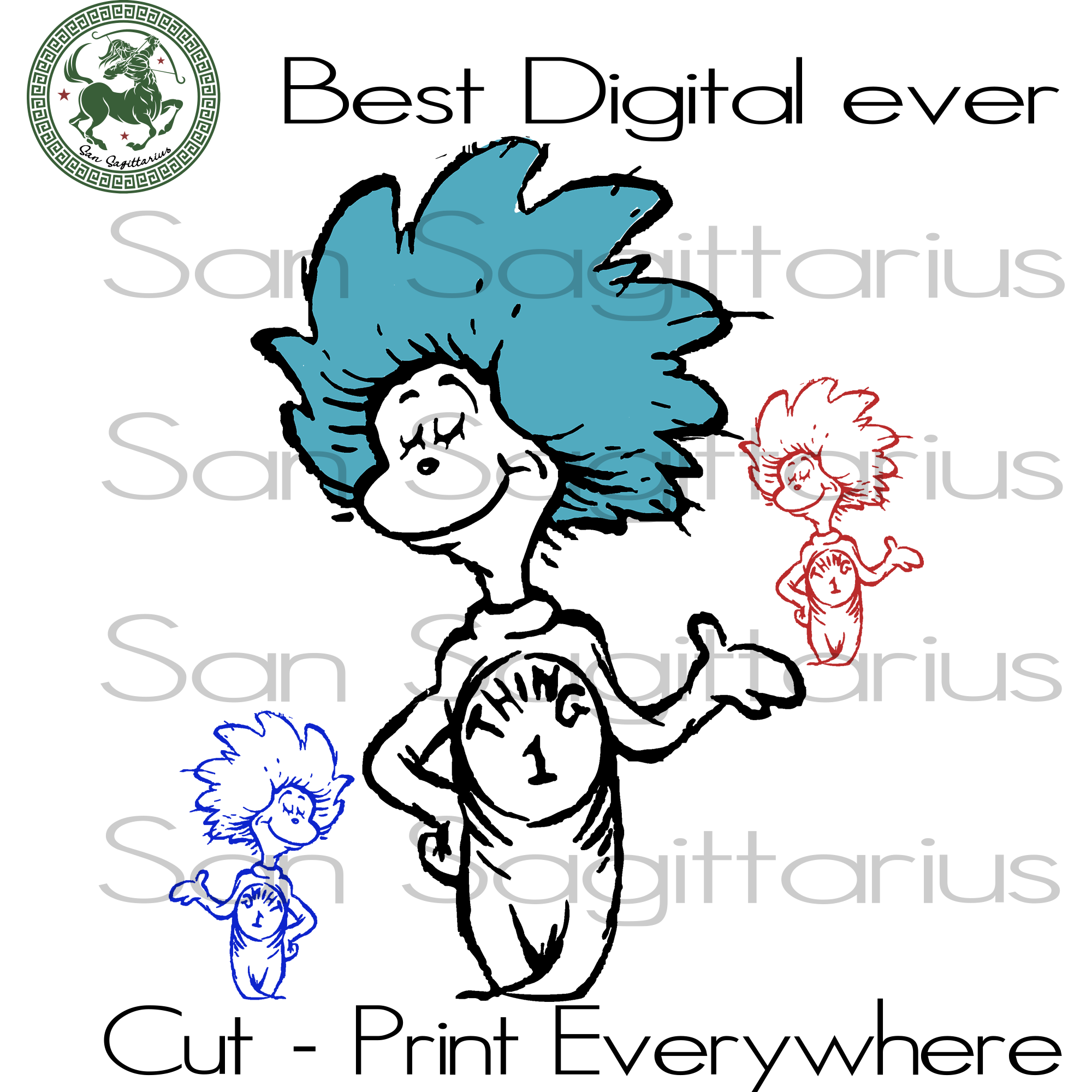 Thing 1 Thing 2, Thing One Svg, Dr Seuss Svg Files, Dr Seuss cut files, Gift For Kids, Family Svg, Dr Seuss Svg Files For Cricut Silhouette Instant Download | San Sagittarius