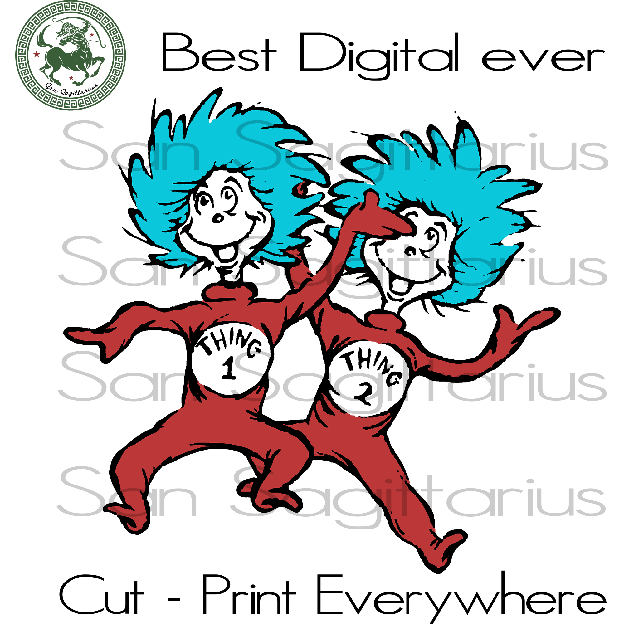 Thing 1 Thing 2, Thing One Thing Two, Dr Seuss Svg Files, Dr Seuss cut files, Gift For Kids, Family Svg, Dr Seuss Svg Files For Cricut Silhouette Instant Download | San Sagittarius