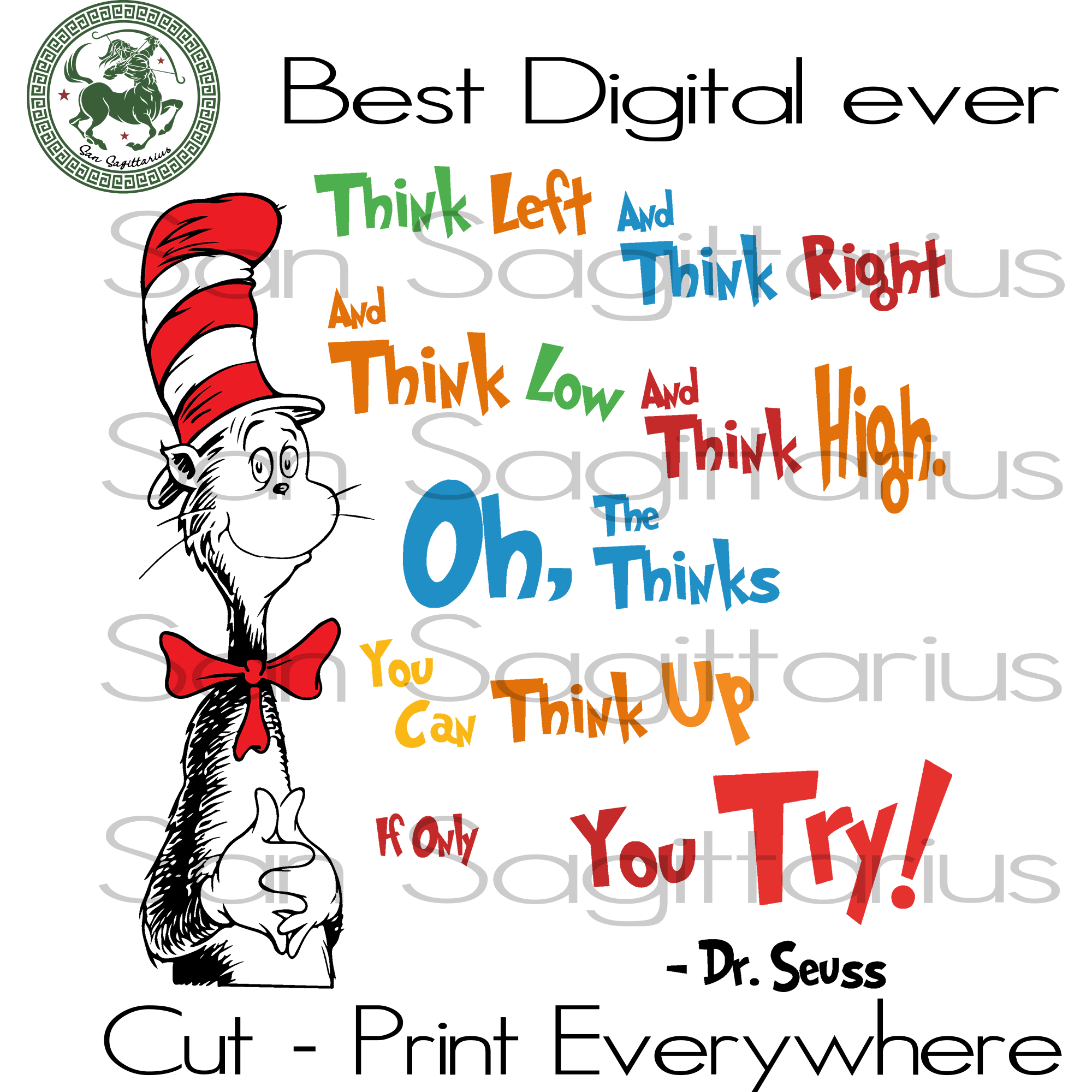Dr Seuss Svg, Dr Seuss Quote, Dr Seuss  Saying, Dr Seuss Svg, Dr Seuss Gift, Dr Seuss Birthday Party Svg Files For Cricut Silhouette Instant Download | San Sagittarius